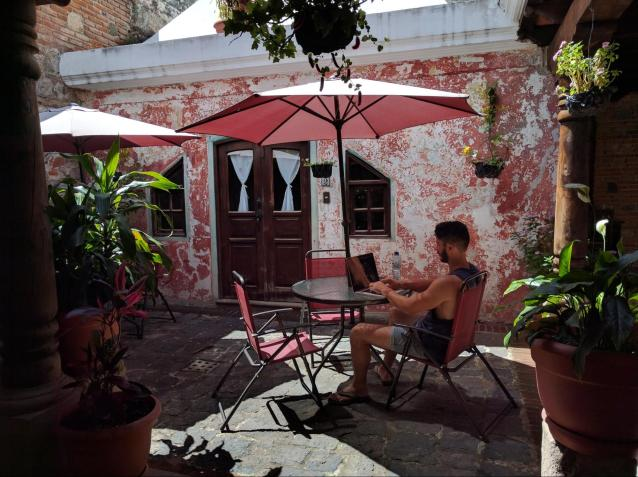 Ellery working remotely in Antigua, Guatemala
