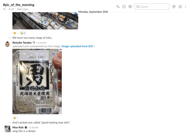 A screenshot of Optimal Workshop's #pic_of_the_morning Slack channel