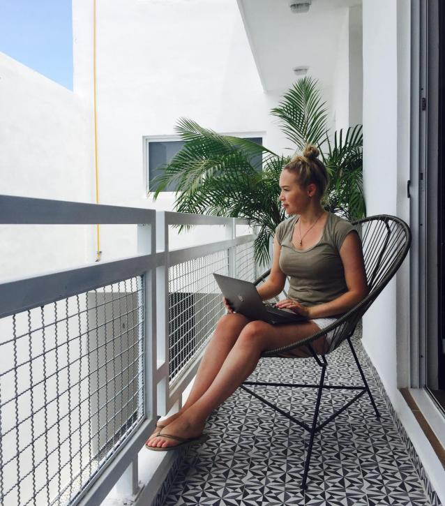 Rebecca working remotely from Playa del Carmen, Mexico