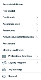 The labels on the AccorHotels website