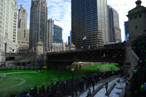 The Chicago River becomes a vibrant green around the city's enthusiastic Saint Patrick's Day festivities. (Photo by J. Crocker)