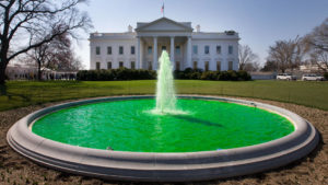The water in the fountain on the North Lawn of the White House in Washington D.C. was dyed green for Saint Patrick's Day on March 17, 2011. (Photo courtesy of The White House/Chuck Kennedy)