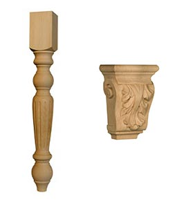Traditional Fluted Dining Table Leg and Petite Acanthus Leaf Corbel