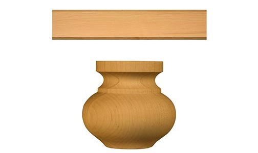 Contemporary Cabinet Crown Molding and Medium Squat Round Bun Foot