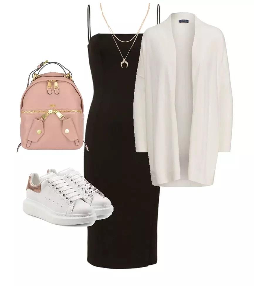 look combinacao com vestido preto com tenis branco
