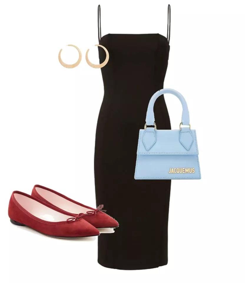 look combinacao com vestido preto com sapato vermelho