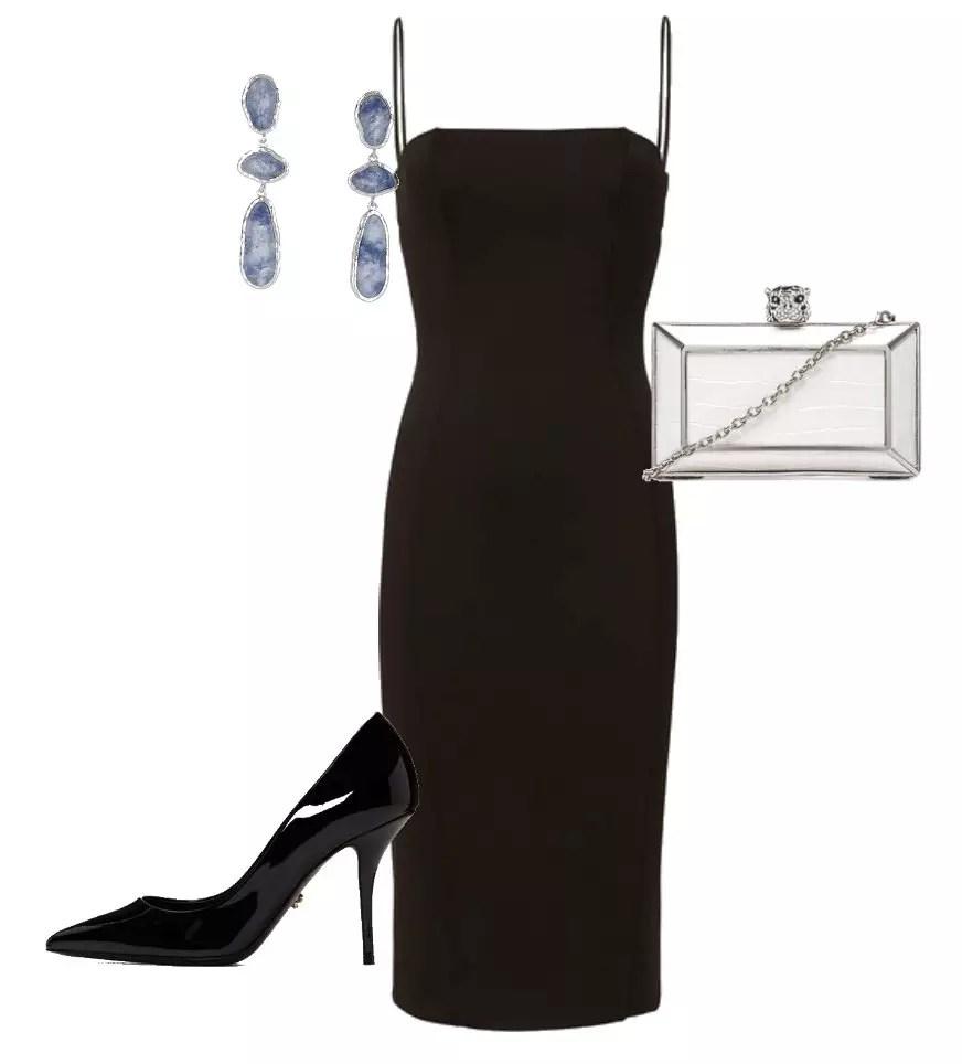 look combinacao com vestido preto com scarpin preto