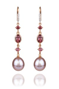 Oster Pearls Rose Gold .07ctw Diamond Tourmaline Pearl Dangle Earrings | Oster Jewelers