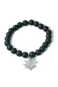 Sydney Evan Diamond Cannabis Leaf & Onyx Bead Bracelet | Oster Jewelers Blog