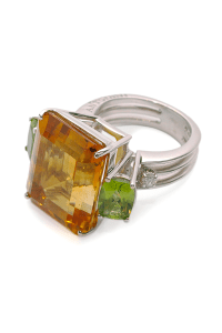 Antartica Big Citrine and Peridot, Diamond Ring | Oster Jewelers Blog