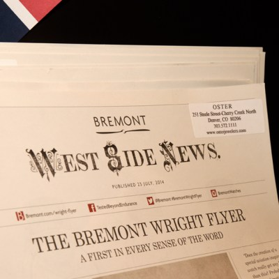 Bremont's West Side News publishing that paid historical homage to their Wright Flyer piece. | Oster Jewelers Blog