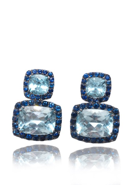 A & Furst Blue Topaz Sapphire Dynamite Earrings