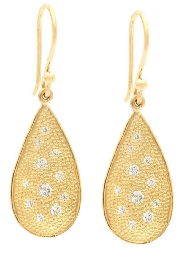 13 Anne Sportun  Organic Teardrop Stardust Hook Earrings