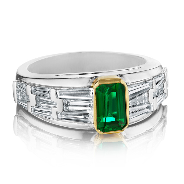 Hammerman Emerald & Diamond Deco Ring