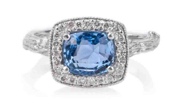 K Brunini 18kwg Sapphire Diamond Twig Ring