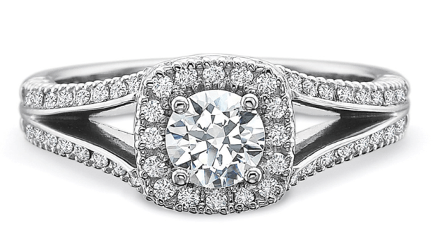 Precision Set Split shank Diamond Halo Ring