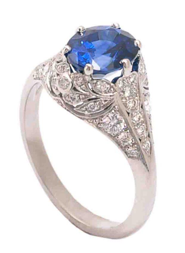 Sebastien Barier Oval Sideshank Sapphire Diamond Ring