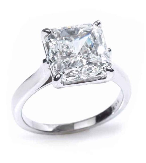 Louis Glick Starburst Diamond Platinium Solitaire Ring-