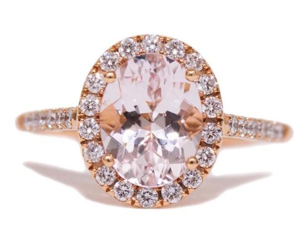 Kimberly Collins Morganite 18KRG Diamond Ring