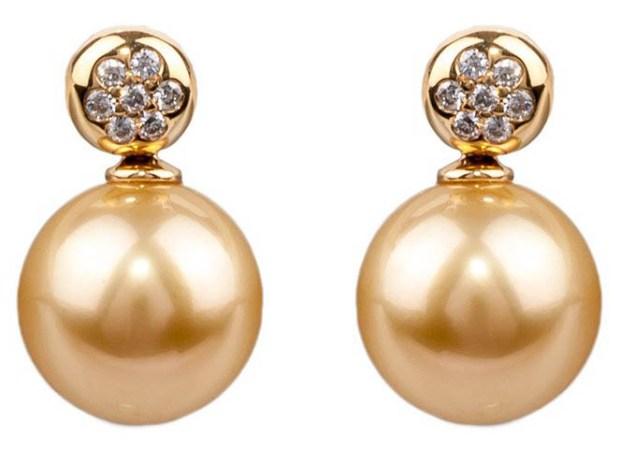 Baggins Golden Pearl and Diamond Earrings