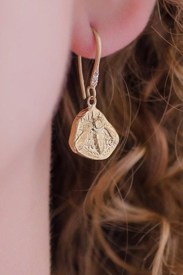 Robin Haley Engraved Gold Bee Earrings