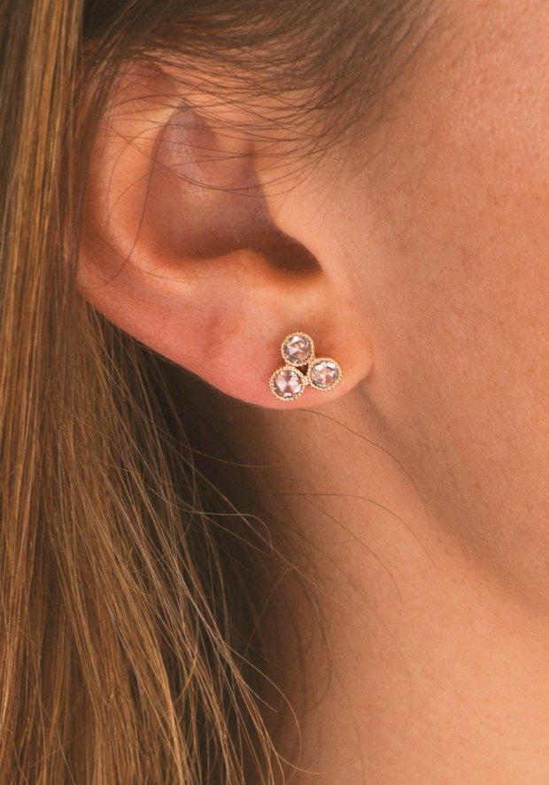 Sethi Couture Triple Cluster Diamond Earrings