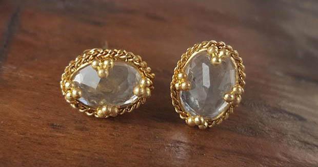 Amali White Topaz & Gold Studs