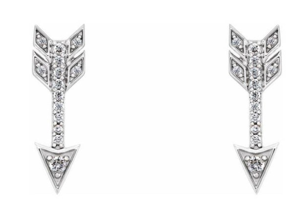 White Gold Diamond Arrow Stud Earrings
