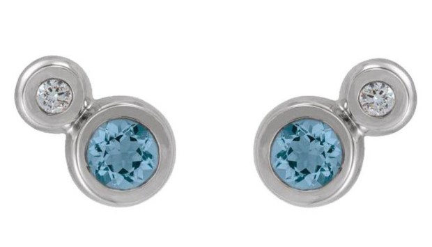 White Gold Aquamarine & Diamond Studs