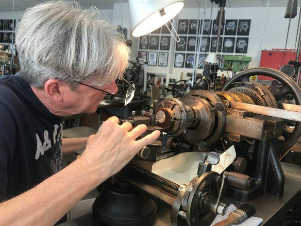 Jochen Benzinger creating the guilloche dial