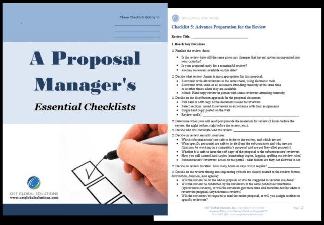 OST Global Solutions' Proposal Manager's Essential Checklists compilation.