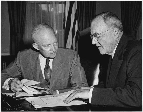 President Eisenhower and John Foster Dulles in 1956. US National Archives and Records Administration.
