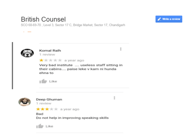 British Counsel Google Reviews