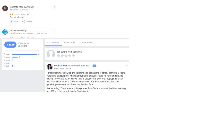 PT Education Bhopal Reviews
