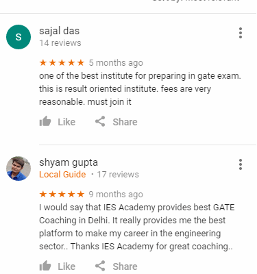 IES GATE Coaching Delhi Reviews