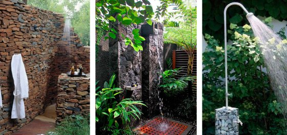 Rincones de duchas con piedras