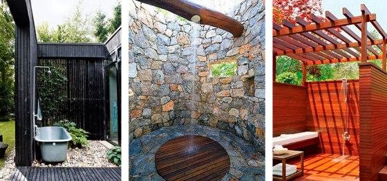 Rincones privados con ducha en jardines