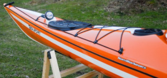 """Testing out a possible location for a deck compass. The odd looking """"groove"""" on the deck serves to make the hull more rigid, but also gives a possibilty to install a compass or stow a water bottle to offer a low profile."""