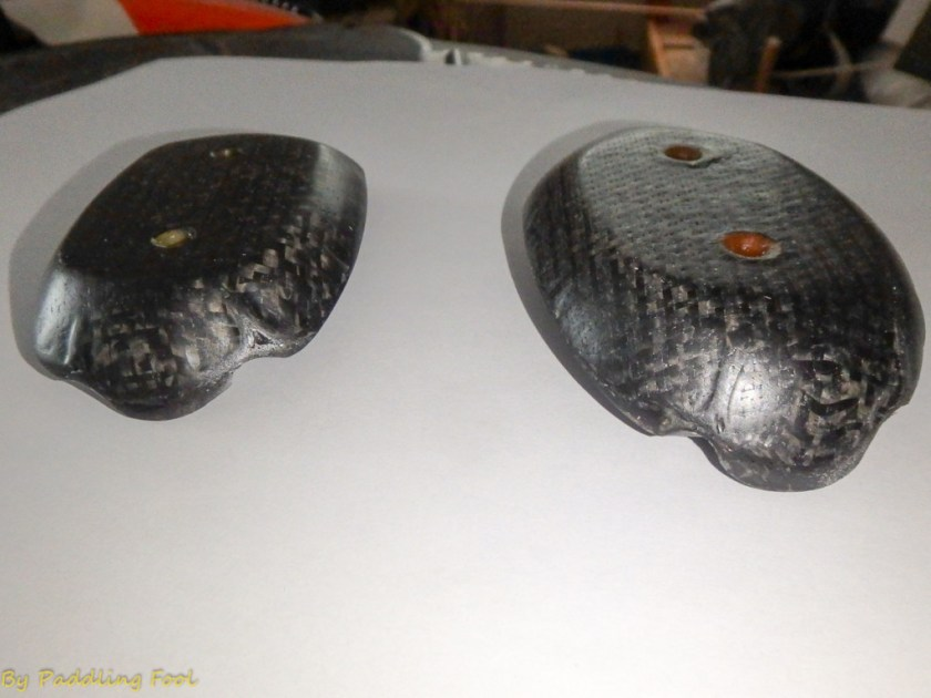 "After the final shaping of the balsa/WRC plugs, I vacuum bagged them. 1 layer CarbonFiber + 1 layer of carbon/glassfiber combo in epoxy. Being prototype work the workmanship is a bit rough. Operative term being here ""quick and dirty. Later several layers of varnish to close the pinholes visible in this picture."