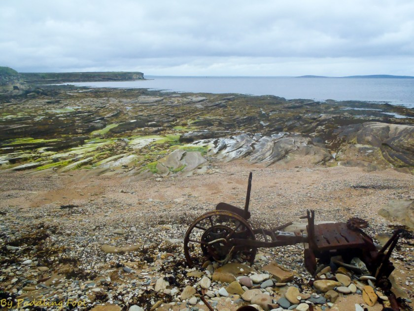 the beach near Buchanan battery on Flotta. Some ancient machinery left on the beach..