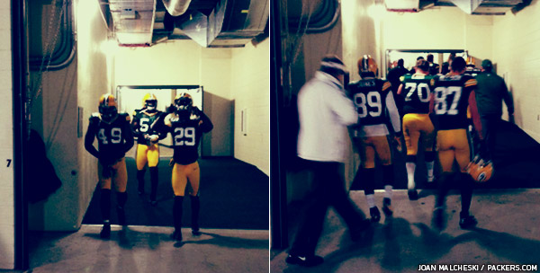 Green Bay Packers players are seen walking out to the field (left) and coming back in before kickoff (right)