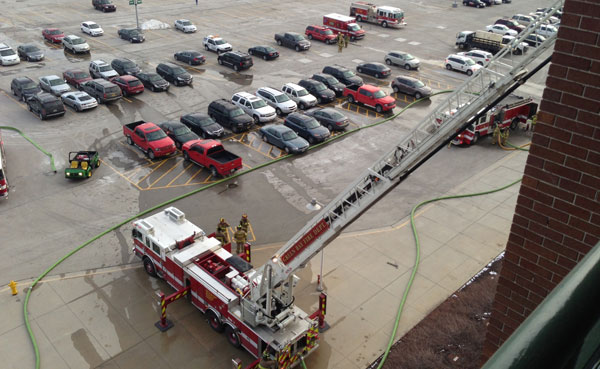 A minor fire occurred today on the construction site for the Lambeau Field expansion