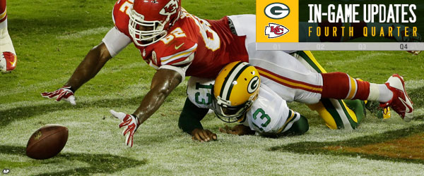 Green Bay Packers QB Vince Young fumbles the ball.