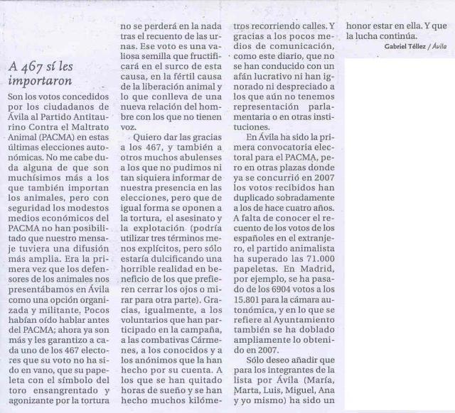 Diario de Avila, 27 mayo 2011