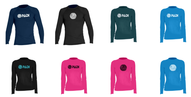 rash guards for scuba diving sun protection for men and women in black, pink and blue