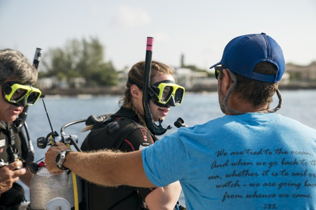 Diving instructor and students