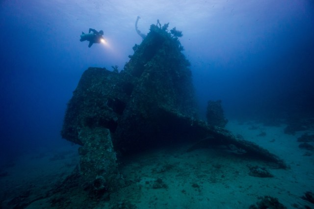 A deep wreck in egypt with scuba diver