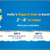 Flipkart Big billion Days Sale : 2nd – 6th Oct