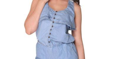 Bedazzle Blue Denim Short Length Jumpsuit