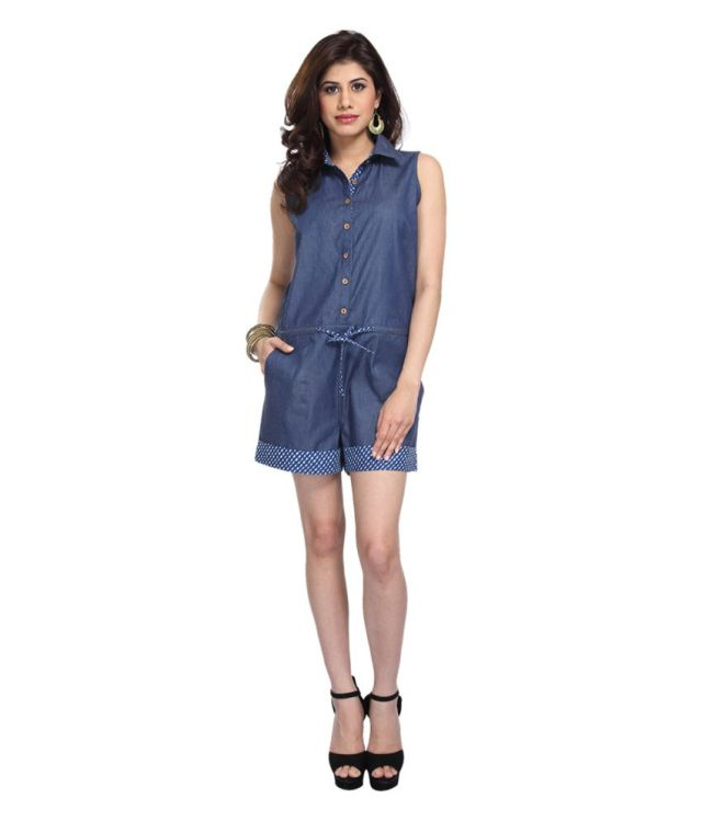 Enah Blue Denim Jumpsuit at Snapdeal offers price